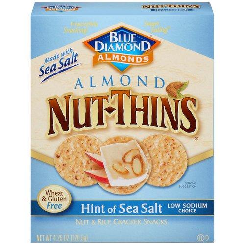 <ul> <li>Blue Diamond Nut-Thins Cracker Snacks, Nut & Rice, Almond, Hint of Sea Salt</li> <li>Low sodium</li> <li>Gluten Free</li> </ul>