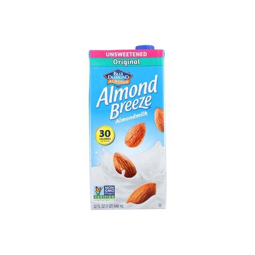 <ul> <li>Blue Diamond Almond Breeze Unsweetened Original Almondmilk</li> <li>Non GMO Verified</li> <li>30 Calories per Serving</li> <li>Dairy Free</li> </ul>