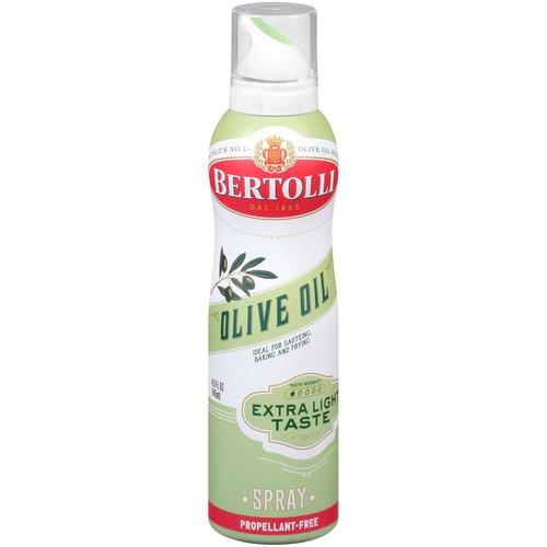 <ul> <li>World's No. 1 Olive Oil Brand</li> <li>Safely sprays pans and baking dishes.</li> <li>Bertolli Olive Oil Extra Light Taste has all the goodness of olive oil and just a hint of olive oil flavor.  It is ideal for high heat cooking like sautéing, frying and baking.</li> <li>Ideal for sautéing, baking and frying.</li> </ul>