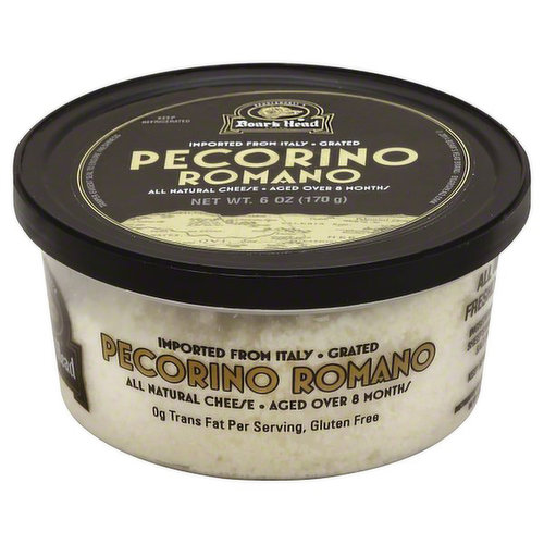 <br>Salty and intense, this sheep's milk cheese is inspired by Italian traditions dating back to the Roman Empire. Boar's Head® Pecorino Romano Cheese is aged for more than eight months to achieve a firm, dense texture and is grated for convenience. </br>  <br>Ingredients: 100% Pure Sheep's Milk, Cultures, Salt, Enzymes. </br>