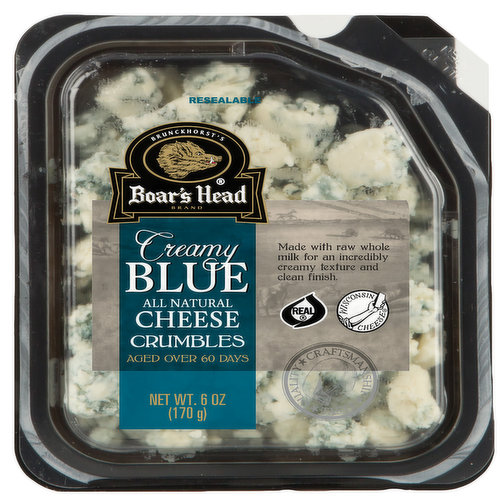 <br>A younger blue that is less pungent and more nuanced than traditional varieties, this cheese has an extra creamy texture, complex flavor and clean finish. Each wheel of Boar's Head® Creamy Blue Cheese is made with raw milk for a tangy yet subtle taste.  </br>  <br>Ingredients: Whole Milk, Salt, Cheese Cultures, Enzymes, Penicillium Roqueforti, Potato Starch </br>