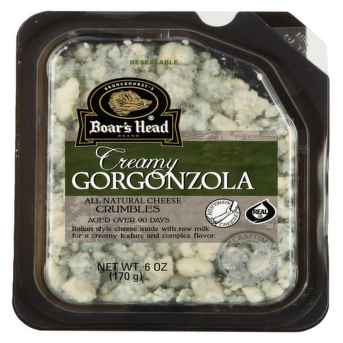 <br>Inspired by the culinary traditions of Italy's Lombardy region, this creamy, tart, Wisconsin-made cheese has sweet and salty notes that intensify its complexity. Boar's Head® Creamy Gorgonzola Cheese is aged for 90-plus days to produce delicate blue-green veins. </br>  <br>Ingredients: Whole Milk, Salt, Cheese Cultures, Enzymes, Penicillium Roqueforti, Potato Starch </br>