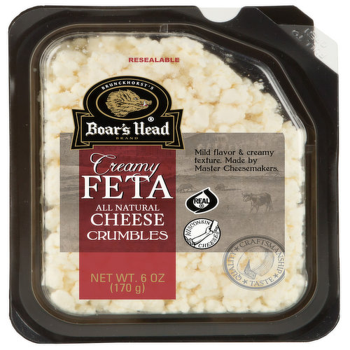 <br>An all-American take on a Greek classic, this cow's milk cheese is crafted under the supervision of a Master Cheesemaker to ensure a rich, tangy flavor with less brine than traditional sheep's' milk varieties. Boar's Head® Creamy Feta Cheese has a delicate, creamy texture.</br>  <br>Ingredients: Pasteurized Milk, Salt, Cheese Cultures, Enzymes, Potato Starch.   </br>