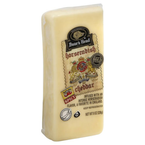 <br>Taking inspiration from two favorites of traditional English fare, Boar's Head Bold® Horseradish Cheddar Cheese is a culinary trip to the village pub. A delightful pairing of creamy, full-bodied cheddar cheese and piquant horseradish flavor, this cheese is an Old World delight.  </br>  <br>Ingredients: Pasteurized Cultured Milk, Natural Flavoring, Salt, Enzymes.</br>