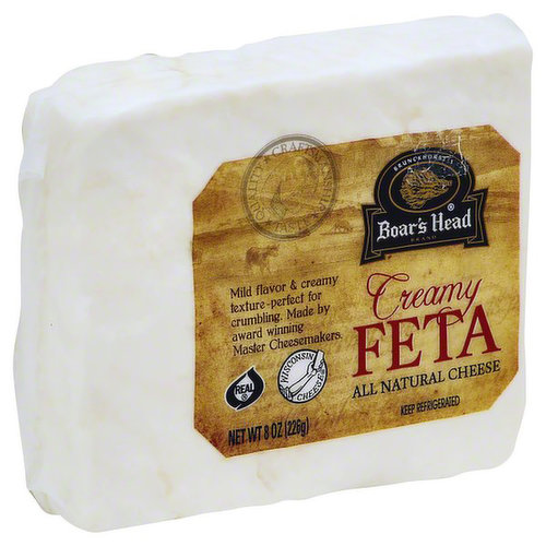 <br>An all-American take on a Greek classic, this cow's milk cheese is crafted under the supervision of a Master Cheesemaker to ensure a rich, tangy flavor with less brine than traditional sheep's' milk varieties. Boar's Head® Creamy Feta Cheese has a delicate, creamy texture.</br>  <br>Ingredients: Pasteurized Milk, Salt, Cheese Cultures, Enzymes.</br>