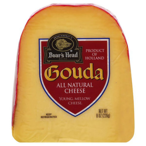 <br>Mild, buttery, slightly nutty with hints of sweetness, this cheese is made in Holland and named after the city where it originated centuries ago. Boar's Head® Gouda Cheese has a smooth and creamy texture and is imported in loaves with a red wax coating.   </br>  <br>Ingredients: Pasteurized Milk, Salt, Cheese Culture, Enzymes, Beta Carotene.</br>
