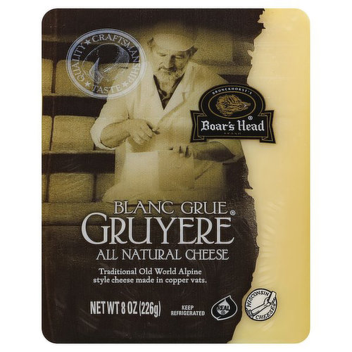 <br>Prepared in copper vats and aged in the traditional Alpine manner, this earthy, aromatic cheese has a firm texture and lush flavor with just a hint of cashew. Boar's Head® Blanc Grue® Gruyere Cheese is made with milk from small family farms in Wisconsin. </br>  <br>Ingredients: Pasteurized Milk, Salt, Cheese Cultures, Enzymes</br>