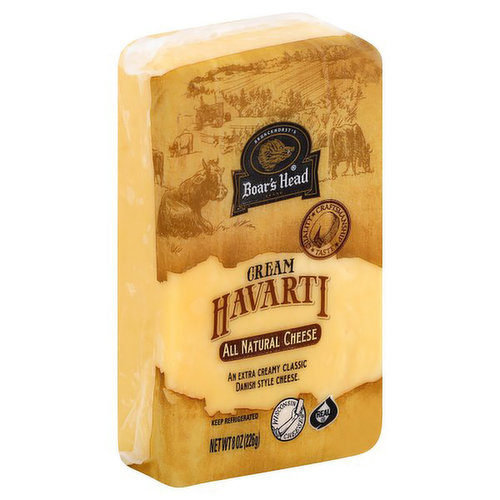 <br>A double crème classic made in the traditional Danish style. Boar's Head® Cream Havarti is a Wisconsin-made cheese that has an incredibly creamy texture with a rich buttery taste. </br>  <br>Ingredients: Pasteurized Milk, Salt, Cheese Cultures, Enzymes, Annatto (Vegetable Color)</br>