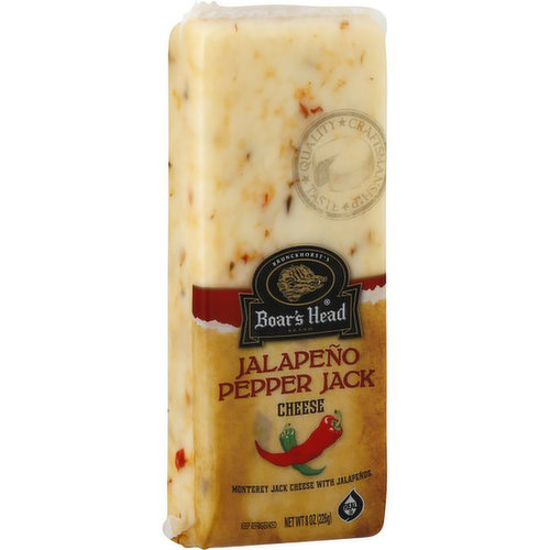 <br>Blended with zesty red and green jalapeño peppers and aged to perfection, this buttery, slightly tart, semi-soft Monterey Jack cheese packs a flavorful punch. Boar's Head® Jalapeño Pepper Jack Cheese is produced in the U.S. with whole cow's milk. </br>  <br>Ingredients: Pasteurized Milk, Cheese Cultures, Jalapeño Peppers, Salt, Enzymes. </br>