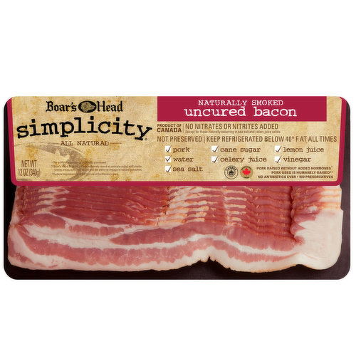 <br>Crafted with simple ingredients, we start with humanely raised§ pork that has no added hormones? and no antibiotics ever. Boar's Head Simplicity® All Natural* Uncured Bacon has no added nitrates or nitrites‡ and is naturally smoked for old fashioned farm house flavor.     §Boar's Head Brand(R) defines humanely raised as animals raised with shelter, resting areas, sufficient space and the ability to engage in natural behaviors.  *No artificial ingredients, minimally processed.   ? Federal regulations prohibit the use of hormones in pork. ‡ Except for those naturally occurring in sea salt and celery powder. </br>  <br>Ingredients: Pork, Water, Sea Salt, Vinegar, Lemon Juice Concentrate, Cane Sugar, Celery Juice Solids.</br>