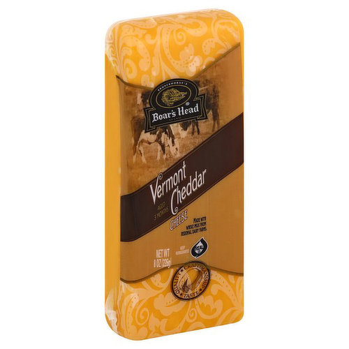 <br>Made with milk sourced from regional family farms, this cheese has a pleasantly mild, rich flavor and smooth, creamy texture. Boar's Head® Vermont Cheddar Cheese is aged for three months to achieve the classic Cheddar taste. </br>  <br>Ingredients: Pasteurized Milk, Cheese Cultures, Salt, Enzymes, Annatto (Vegetable Color).</br>