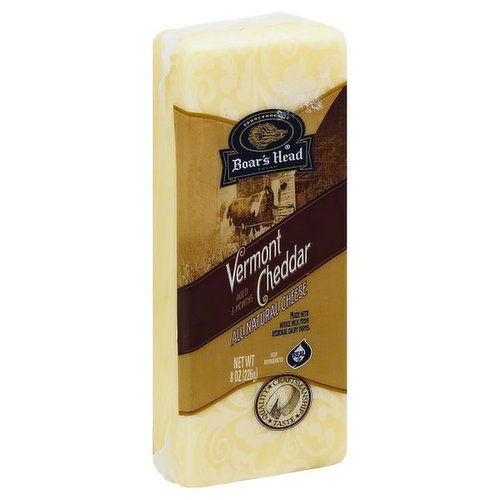 <br>Made with milk sourced from regional family farms, this cheese has a pleasantly mild, rich flavor and smooth, creamy texture. Boar's Head® Vermont Cheddar Cheese is aged for three months to achieve the classic Cheddar taste. </br>  <br>Ingredients: Pasteurized Milk, Cheese Cultures, Salt, Enzymes </br>