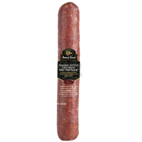 <br>A classic blend of pork with white wine and authentic Italian seasonings, Boar's Head Italian Style Uncured Dry Sausage is crafted according to centuries-old traditions and naturally aged for a mild, rich flavor.</br>  <br>Ingredients: Pork, Sea Salt, Less than 2% of: Turbinado Sugar, Spices, Natural Flavoring, Organic Wine, Lactic Acid Starter Culture. </br>