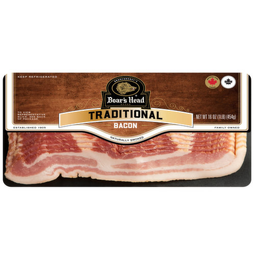 <br>Crafted with top-quality pork belly, this bacon is smoked with hardwood chips and cooked to perfection. Boar's Head® Naturally Smoked Bacon packs  farm-fresh flavor into each slice. </br>  <br>Cured with: Water, Salt, Sugar, Sodium Phosphate, Sodium Erythorbate, Sodium Nitrite.</br>