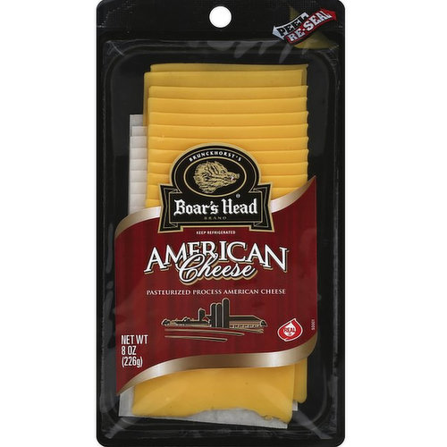<br>Crafted from a hand-selected blend of rich, savory Cheddars, this all-American cheese has a smooth, creamy texture and pleasantly mild taste. Boar's Head® American Cheese is an amazingly meltable, flavorful classic.</br>  <br>Ingredients: American Cheese (Milk, Salt, Cheese Culture, Enzymes), Cream, Sodium Phosphates, Paprika, Annatto, Salt. </br>