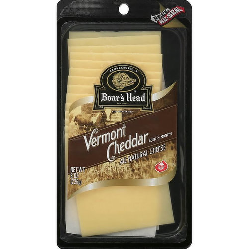 <br>Made with milk sourced from regional family farms, this cheese has a pleasantly mild, rich flavor and smooth, creamy texture. Boar's Head® Vermont Cheddar Cheese is aged for three months to achieve the classic Cheddar taste. </br>  <br>Ingredients: Pasteurized Milk, Cheese Cultures, Salt, Enzymes.</br>