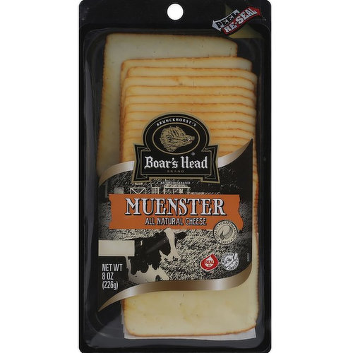 <br>Handcrafted in the traditional style under the patient supervision of Master Cheesemakers and encased in a an edible natural Annatto colored rind. This creamy cheese has a smooth texture and mellow flavor. Boar's Head® Muenster Cheese is made in Wisconsin with whole cow's milk. </br>  <br>Ingredients: Pasteurized Milk, Cheese Cultures, Salt, Enzymes, Annatto (Vegetable Color).</br>