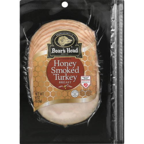 <br>With a pleasantly mild and flavorful taste, Boar's Head® Honey Smoked Turkey Breast is lightly smoked and hand coated in golden honey for a delicately smoky, subtly sweet flavor in every slice. </br>  <br>Ingredients: Turkey Breast, Water, Honey, Less than 1.5% of Salt, Sugar, Sodium Phosphate.</br>