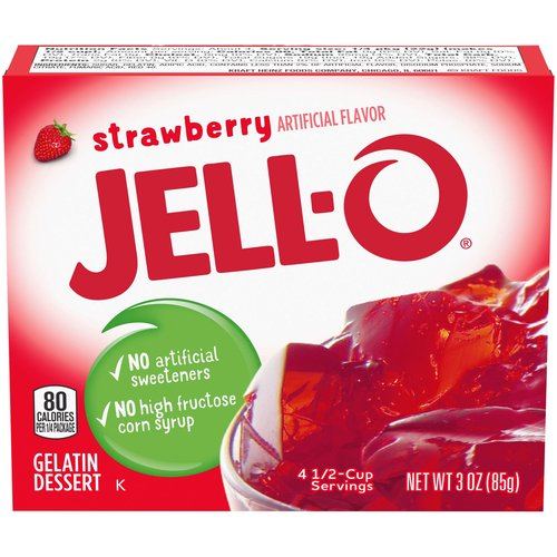 <ul> <li>One 3 oz. box of Jell-O Strawberry Instant Gelatin Mix</li> <li>Jell-O Strawberry Instant Gelatin Mix is an easy to make strawberry flavored dessert</li> <li>Fat free gelatin powder contains no artificial sweeteners and no high fructose corn syrup</li> <li>Individually packaged in a sealed pouch</li> <li>Gelatin dessert is easy to make — just stir the mix with boiling and cold water and refrigerate</li> <li>Package makes four 1/2-cup servings</li> <li>Makes a delicious dessert</li> </ul>