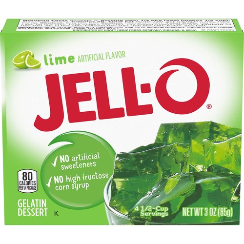 <ul> <li>One 3 oz. box of Jell-O Lime Instant Gelatin Mix</li> <li>Jell-O Lime Instant Gelatin Mix is an easy to make lime flavored dessert</li> <li>Fat free gelatin powder contains no artificial sweeteners and no high fructose corn syrup</li> <li>Individually packaged in a sealed pouch</li> <li>Gelatin dessert is easy to make — just stir the mix with boiling and cold water and refrigerate</li> <li>Package makes four 1/2-cup servings</li> <li>Makes a delicious dessert</li> </ul>