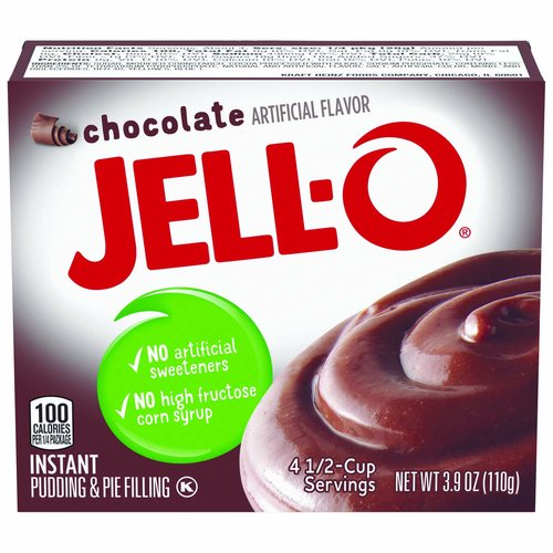 <ul> <li>One 3.9 oz. box of Jell-O Chocolate Instant Pudding Mix</li> <li>Jell-O Chocolate Instant Pudding Mix tastes great alone or in desserts</li> <li>Instant chocolate pudding is fat-free <li>Contains no artificial sweeteners or high fructose corn syrup</li> <li>Individually packaged in a sealed pouch for freshness</li> <li>You will quickly have a delicious pudding that the entire family will enjoy</li> <li>Simply mix with milk and allow to set for 5 minutes</li> </ul>