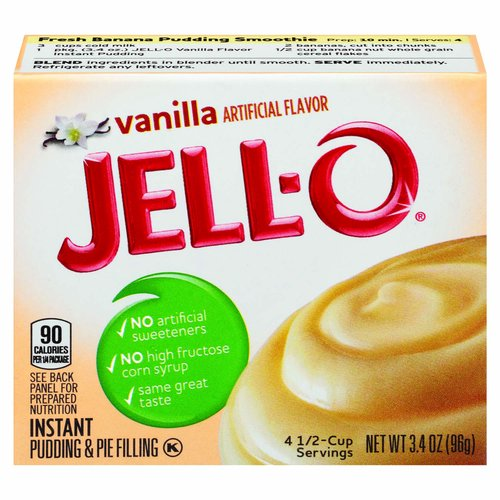 <ul> <li>4 1/2-Cup Servings</li> <li>1- 3.4 ounce box of Jell-O Vanilla Instant Pudding Mix</li> <li>Jell-O Vanilla Instant Pudding Mix tastes great alone or in desserts</li> <li>Instant vanilla pudding is fat-free</li> <li>Contains no artificial sweeteners or high fructose corn syrup</li> <li>Individually packaged in a sealed pouch for freshness</li> <li>You will quickly have a delicious pudding that the entire family will enjoy</li> <li>Simply mix with milk and allow to set for 5 minutes</li> </ul>