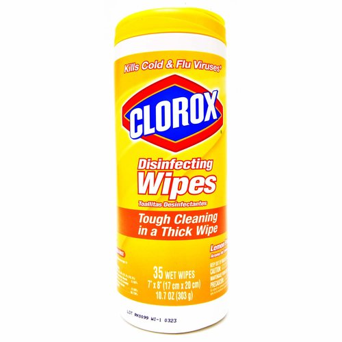 Wet wipes. Bleach-free. Kills 99.9% of viruses (Human Coronavirus, Influenza A2 Virus) & bacteria. Kills staph (Staphylococcus aureus), E. coli (Escherichia coli O157:H7), MRSA (Methicillin-resistant Staphylococcus aureus), salmonella (Salmonella enterica), strep (Streptococcus pyogenes), kleb (Klebsiella pneumoniae). Kills cold & flu viruses (Human Coronavirus, Influenza A2 Virus). Great for wood (than previous wipes), granite (Pet dander, dust mite matter, pollen particles, grass) & stainless steel. Safe for use on finished hardwood, sealed granite and stainless steel. The easy way to clean & disinfect. For use on hard, nonporous, non-food-contact surfaces: kitchens; bathrooms; offices; classrooms (Confirm school policy allows for use and/or donation of product. Adults must deliver donations to schools); pet areas; laundry rooms; dorms; locker rooms; gyms. Contains no phosphorus. Questions or comments? Please visit www.clorox.com or call (800) 227-1860. For more product ingredient information, visit www.ingredientsinside.com. how2recycle.info. Made in USA of global components.