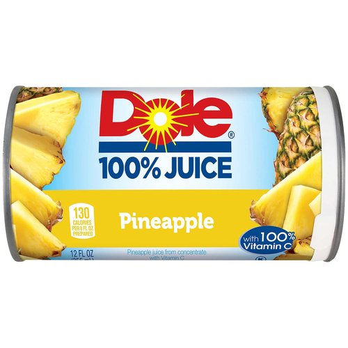 <ul> <li>100% juice</li> <li>No added sugar or sweeteners</li> <li>Pineapples are a symbol of hospitality, tropical vacations and fun, so it makes sense Dole would take this yummy goodness and put it in a can.  DOLE 100% Pineapple Juice is refreshing, exotic and a delicious alternative to other juices.  It tastes great on its own, or in your favorite smoothie, mocktail, cocktail or marinade.</li> </ul>