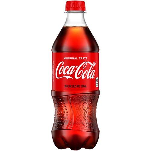 <ul> <li>20 fluid ounce bottle of Coca-Cola Original Taste—the refreshing, crisp taste you know and love</li> <li>This sparkling beverage is best enjoyed ice-cold for maximum refreshment</li> <li>57 mg of caffeine in each 20 oz serving</li> <li>20 FL OZ in each bottle</li> <li>Great taste since 1886</li> </ul>