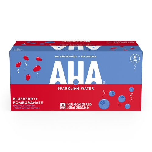 <ul> <li>No sodium, no sweeteners, no calories</li> <li>One of eight unique flavor duos</li> <li>12 FL OZ per can</li> <li>Whether you call it seltzer, carbonated water, or fizzy beverage, AHA's bold flavor pairings offer a unique sparkling water experience that will satisfy your thirst</li> <li>Try the renewing taste of AHA Blueberry + Pomegranate sparkling water</li> </ul>