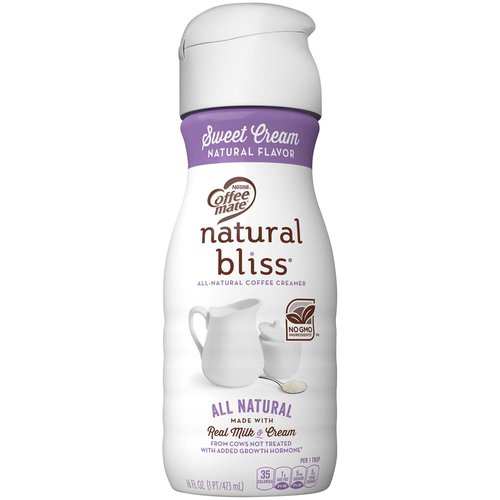 <ul> <li>Coffee mate NATURAL BLISS Sweet Cream flavor coffee creamer adds naturally delicious goodness into every cup you pour</li> <li>We start with real milk and cream from cows not treated with added growth hormones, blending in natural sweet cream flavor for a smooth, rich flavor</li> <li>Stir in the natural flavor of Sweet Cream for a cup of deliciousness that has no GMO ingredients or added growth hormones* *No significant difference has been shown between milk from rBST treated and non rBST treated cows.</li> <li>Add some all-natural love to your morning coffee and bring your cup to life with a rich, creamy taste that will have you coming back for another cup</li> <li>When you sip a cup of coffee made with Coffee mate NATURAL BLISS Sweet Cream, you can be sure that your morning is starting at its all-natural best</li> </ul>