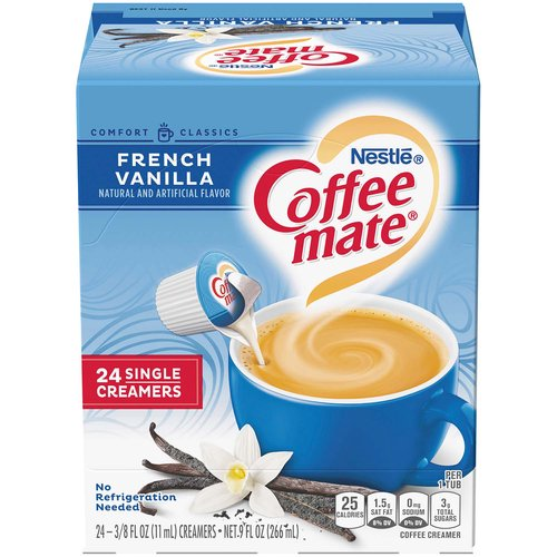 <ul> <li>Coffee mate French Vanilla Liquid Creamer is vanilla perfection and coffee's perfect mate. Package contains 24 single-creamer tubs. <li>Stir in the delicious, rich taste anytime for a warm, rich classic cup that's non-dairy, lactose-free, and cholesterol-free <li>Whether you're sharing with a friend or taking a moment to recharge, Coffee mate French Vanilla is the perfect way to wake up your cup</li> <li>Add in the right amount of flavor to suit your taste and transform your coffee into flavorful deliciousness</li> <li>Package contains 24 single-creamer tubs</li> </ul>