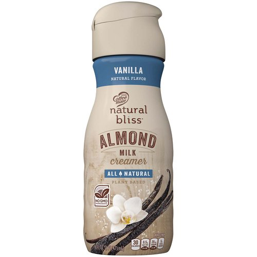 <ul> <li>Coffee mate NATURAL BLISS Almond Milk Vanilla flavor coffee creamer adds naturally delicious goodness into every cup you pour</li> <li>We start with real almond milk, blending in natural vanilla flavor that includes extract from real Madagascar vanilla beans for a smooth, rich flavor</li> <li>Stir in the natural flavor of Vanilla for a cup of non-dairy deliciousness that has no GMO ingredients</li> <li>Add some all-natural love to your morning coffee and bring your cup to life with a rich taste that will have you coming back for another cup <li>When you sip a cup of coffee made with Coffee mate NATURAL BLISS Almond Milk Vanilla, you can be sure that your morning is starting at its all-natural best</li> </ul>