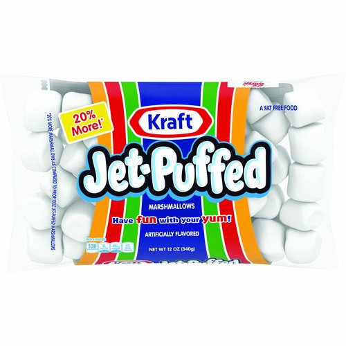 Per 4 pieces: 100 calories; 0 g sat fat (0% DV); 30 mg sodium (1% DV); 17 g sugars. A fat free food. 20% more! (20% more marshmallows as compared to prior 10oz Jet-Puffed marshmallows). Have fun with your yum! Spread some yum on your fruit or bread! Bring yum to your celebration! Add some yum to everything! Visit us at: Kraftheinzcompany.com or call weekdays: 1-800-431-1001 please have package available.