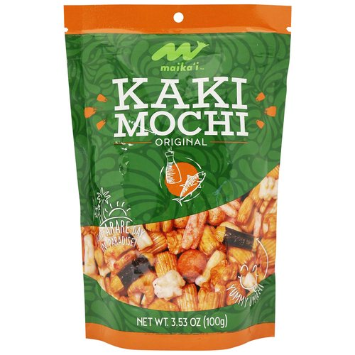 Kaki Mochi Original – Glutinous rice flour flavored with cuttlefish and shrimp is used as the base of our Maika'i Kaki Mochi mix to create a crunchy, seafood flavored snack. Great replacement for those who like dried Ika too!