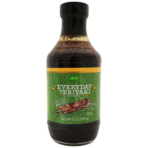 Marinade is soy based and made with garlic, ginger, sesame seeds, sesame oil and sweetened with sugar.