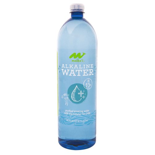 Maika'i Alkaline Water Plus Electrolytes is the perfect refreshment and will quench your thirst.  Our high, 9.5+ pH alkaline water helps support your body's natural pH of 7.4 and battles the acidic side effects of foods in a common diet that includes meat, dairy and coffee.  Check our sidebar chart on the bottle to see where everyday foods land on the pH scale.  Be pHit, have pHun, and repHresh!  Our Alkaline Water plus electrolytes has zero calories, no added sodium, no sweeteners, and no added chlorine.  Best served chilled or room temperature and our larger 1.5 liter ensures you've got enough for the road.