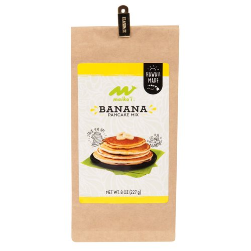 Our Maika`i Pancake Mixes are locally produced, easy to prepare and available in 3 island-inspired, natural flavors: Classic Buttermilk, Banana and Macadamia Nut flavors.  Pair these fluffy pancakes with our locally-made Maika`i syrups for a true island-style breakfast.   Easy to make, with a minimum amount of effort. Simply add liquid to our mix and serve up a stack of pancakes that are as light as air!  Our Maika`i Pancake Mixes are great for gift-giving to family and friends on the mainland, as they're easy to pack in your luggage or mail.