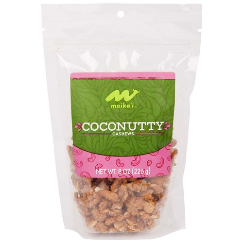 Coconutty Cashews – We renamed our Coconut Praline Cashews so we could get to the point – as our Coconutty Cashews are just that, full of sweet, caramelized coconut flavor, with an appealing salty, buttery and crunch like praline bits.  Candied cashews with coconut flavor; Ingredients: Cashews, sugar, vegetable oil, natural coconut flavor, coconut, sea salt.