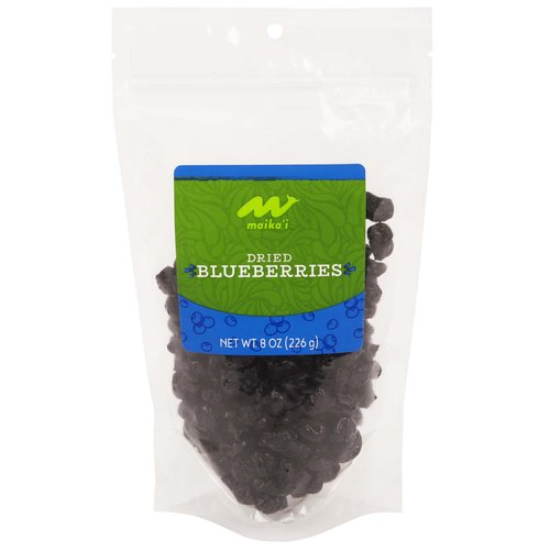 Dried Blueberries – Our Maika'i Dried Blueberries are a great source of fiber, and a super fruit of choice for those who need a quick energy boost.  High in antioxidants, our dried blueberries are a dream in cereals, yogurt, and over ice cream! Add to your muffin or pancake batters for a flavorful blueberry boost anytime of the year!  Product of USA.