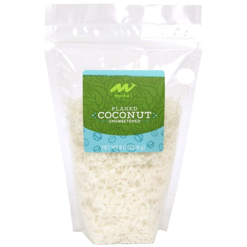 Flaked Coconut, Unsweetened – Our Maika'i Flaked Coconut is perfect for use in baking, homemade trail mixes, and as a nice addition to cereals for some texture. Mix into your bread crumb or panko coating for fish for an island vibe.  Product of the Philippines, 0g added sugars.