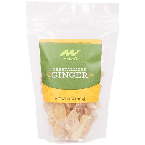 Dried Crystalized Ginger - Our Maika'i Dried Crystallized Ginger is a perfect after dinner treat after a full meal.  Delicious in a trail mix for a burst of intense flavor or in a cup of tea for a hint of ginger to help your stomach.  Ginger, Cane Sugar, Sodium Metabisulphite (preservative)