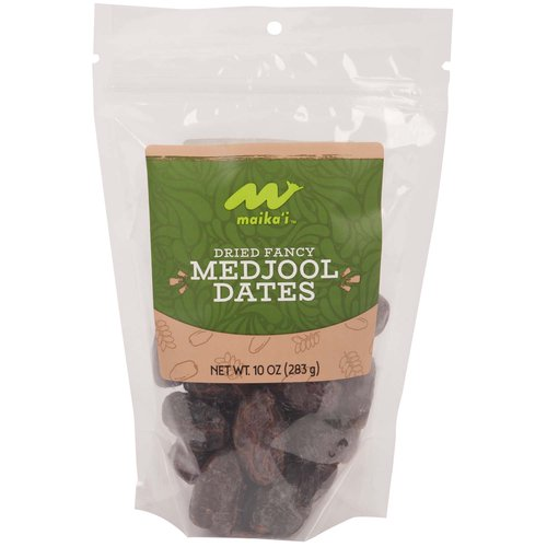 Dried Fancy Medjool Dates - Our Maika'i Dried and Pitted Medjool dates are moist, juicy, and nature's candy.  Known as the Queen of Dates, our Medjool are great with cocktails, great chopped up in grains, and great for special occasions!   Reminder, these dates are NOT pitted.  0g added sugars.