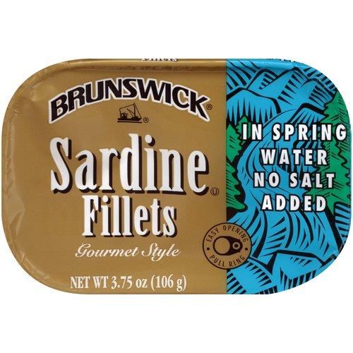 <ul> <li>Brunswick Sardines in Spring Water, No Salt Added</li> <li>Gourmet Style</li> <li>Easy Opening Pull Ring</li> <li>Ready to Eat</li> <li>Gluten Free</li> </ul>