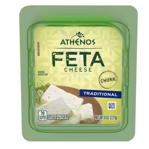 <ul> <li>One 8.0 oz. tub of Athenos Traditional Chunk Feta Cheese</li> <li>Athenos Traditional Chunk Feta Cheese is made the traditional way for quality and consistency</li> <li>Feta cheese is creamy and tangy</li> <li>Chunk cheese is easy to slice and crumble</li> <li>Made with pasteurized part skim milk</li> <li>Use on pizza, salad, focaccia and more</li> <li>Airtight, resealable packaging helps lock in flavor</li> </ul>