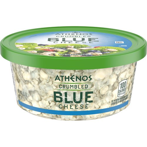 <ul> <li>One 4.5 oz. tub of Athenos Crumbled Blue Cheese</li> <li>Enjoy a cheese staple made the Greek way with Athenos Crumbled Blue Cheese</li> <li>Sharp and zesty blue cheese adds a burst of flavor to your meal</li> <li>Fine crumbles are the perfect topping for salads and pastas</li> <li>Made with quality pasteurized milk</li> <li>Try this blue cheese on wraps, roasted vegetables or spinach salads</li> <li>Packed in a resealable tub to lock in flavor</li> </ul>