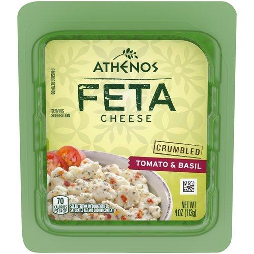 <ul> <li>One 4.0 oz. tub of Athenos Tomato & Basil Feta Cheese Crumbles</li> <li>Bring authentic Greek flavor to your table with Athenos Tomato & Basil Feta Cheese Crumbles</li> <li>Enjoy the taste of tangy Feta with a savory touch of dried basil and tomato</li> <li>Perfect crumbles offer convenient, mess-free kitchen prep</li> <li>Made with pasteurized part-skim milk</li> <li>Add a touch of tomato and basil feta Greek pizza, bruschetta or salad</li> <li>Airtight, resealable packaging helps lock in flavor</li> </ul>
