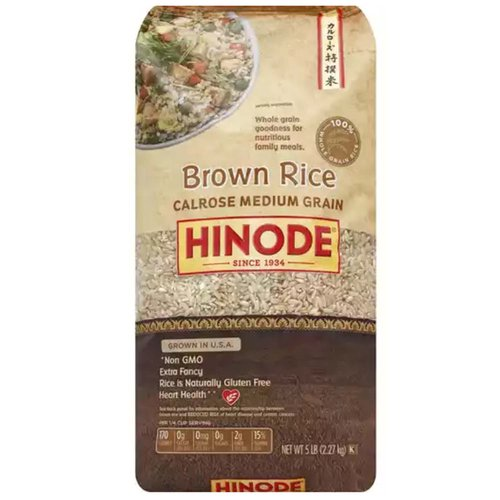 <ul> <li>Medium Grain </li> <li>Whole Grain Goodness for Nutritious Family Meals</li> <li>Grown in USA</li> <li>Non GMO</li> <li>Extra Fancy</li> <li>Rice is Naturally Gluten Free</li> <li>Hearth Health</li> <li>100% Whole Grain Rice</li> </ul>