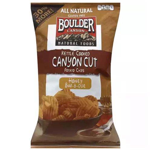 Boulder Canyon Cut Potato Chips, Kettle Cooked, Honey Bar-B-Que, 6.5 Ounce