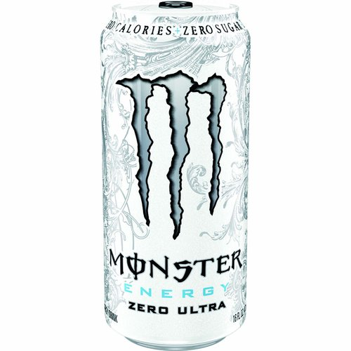Zero calories + zero sugar. Some people are impossible to please. As soon as they get what they thought they wanted they always want more. Our team riders and Monster girls are no different - they've been dropping some hints lately. They've been asking us for a new Monster drink. A little less sweet, lighter-tasting, zero calories, but with a full load of our Monster energy blend. Sure, white is the new black. We went all out: Monster Energy Zero Ultra. Unleash the ultra beast! www.monsterenergy.com. Facebook. Instagram. Twitter. YouTube. Monster Energy Blend: taurine, Panax ginseng extract, l-carnitine, caffeine, guarana extract, Glucuronolactone, inositol. Caffeine from All Sources: 70 mg per 8 fl oz serving (140 mg per can).